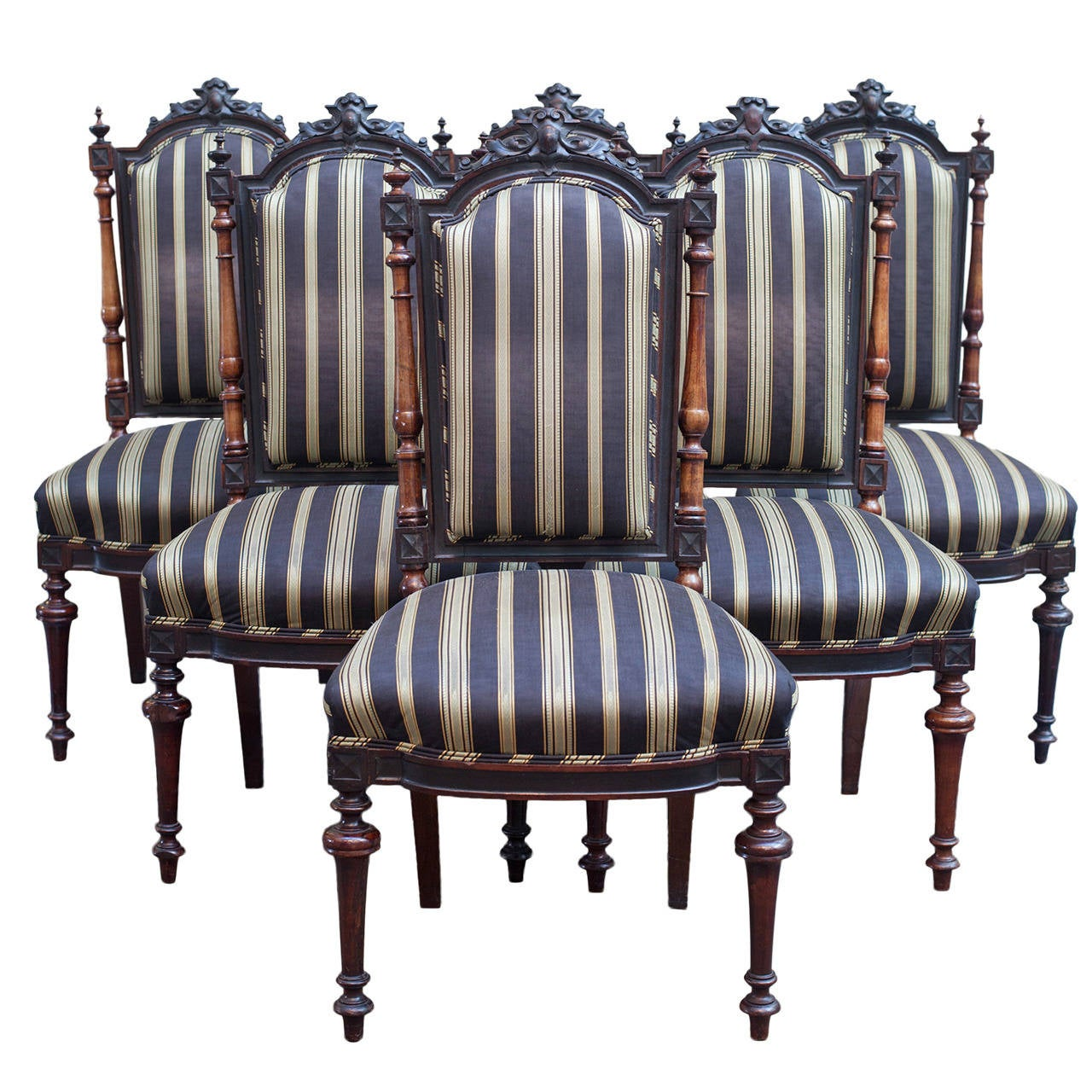 Set Of Six Renaissance Revival Victorian Side Chairs For Sale