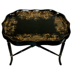 Jennens & Bettridge Signed Tray on Stand
