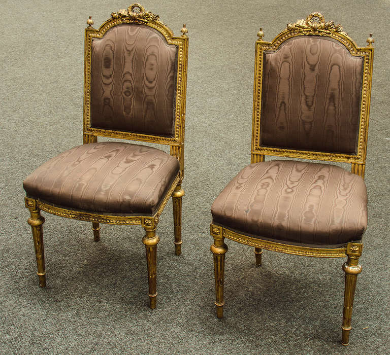 Pair of louis xvi style chaises at 1stdibs for Chaise louis xvi