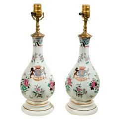Pair of Armorial Samson Porcelain Lamps