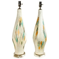 Pair of Crackle and Polychromed Ceramic Lamps