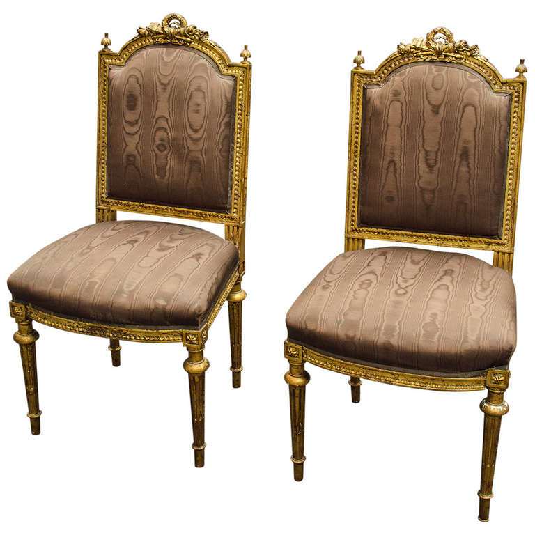 Pair of louis xvi style chaises at 1stdibs - Chaises louis 16 ...