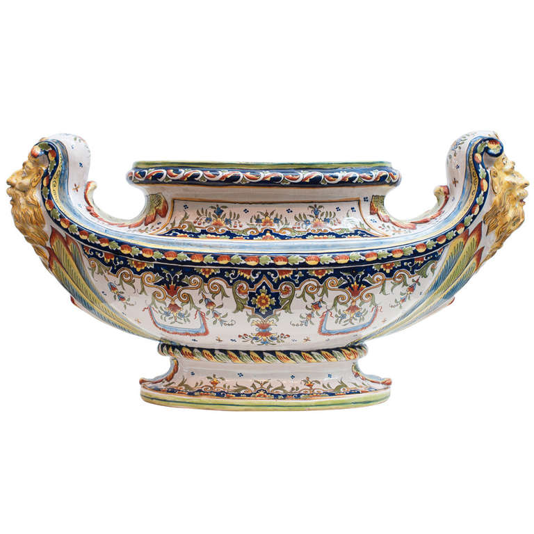 French Faience Jardiniere by Henri Delcourt