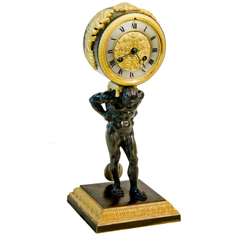Atlas Ormolu and Patinated Bronze Travel Clock