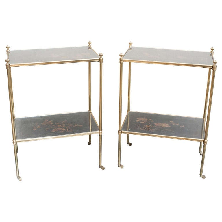 Pair of Mallett Side Tables with Chinese Lacquer Panels