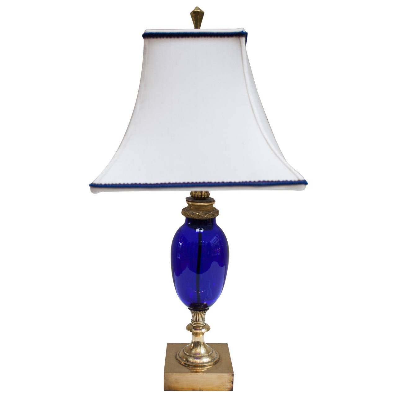 antique cobalt blue lamp attributed to baccarat for sale. Black Bedroom Furniture Sets. Home Design Ideas