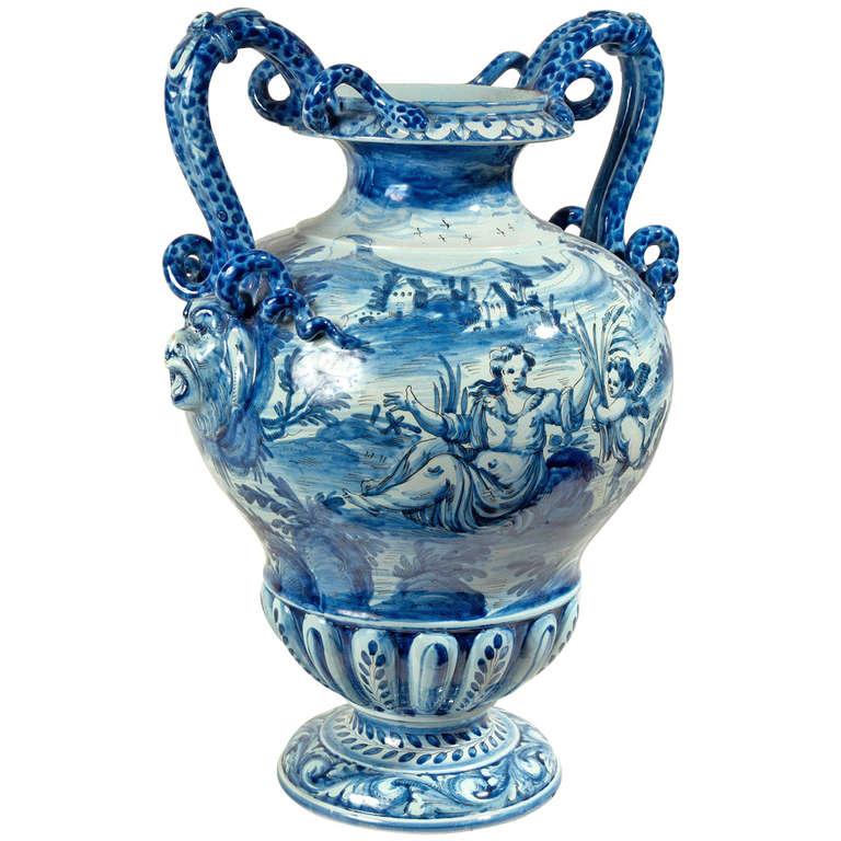 Cantagalli Italian Majolica Urn Shaped Vase at 1stdibs