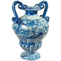 Cantagalli Italian Majolica Urn Shaped Vase