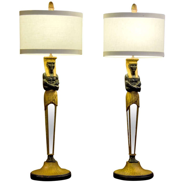 pair of forties egyptian revival lamps at 1stdibs