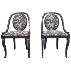 Black Lacquer Spoon Back Chairs-The Pair