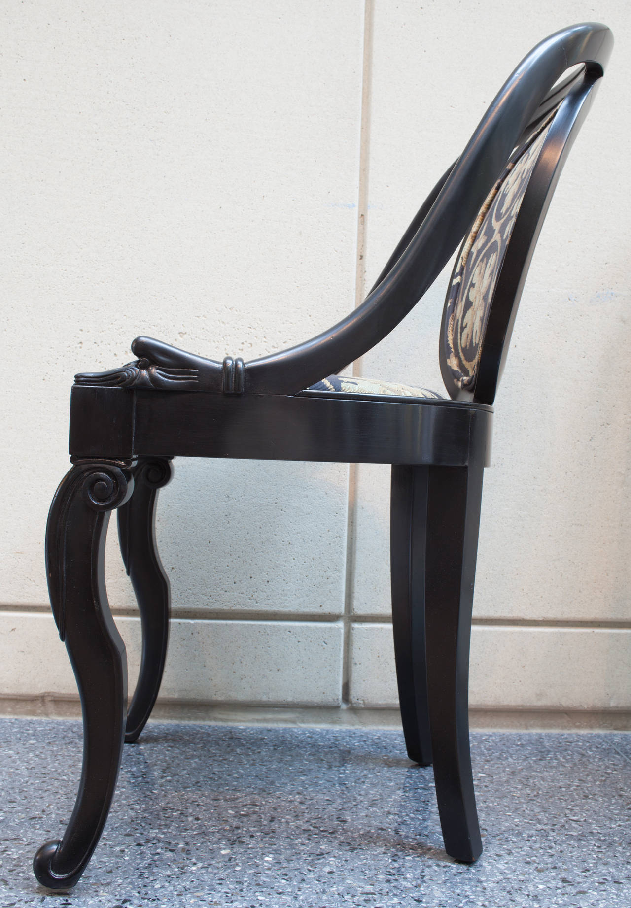 American Pair of Black Lacquer Spoon Back Chairs For Sale