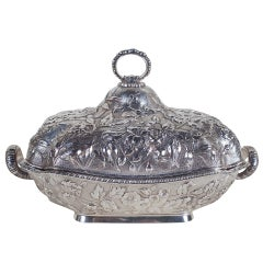 Sterling Silver Repoussé Covered Serving Dish by Theodore B. Starr, New York
