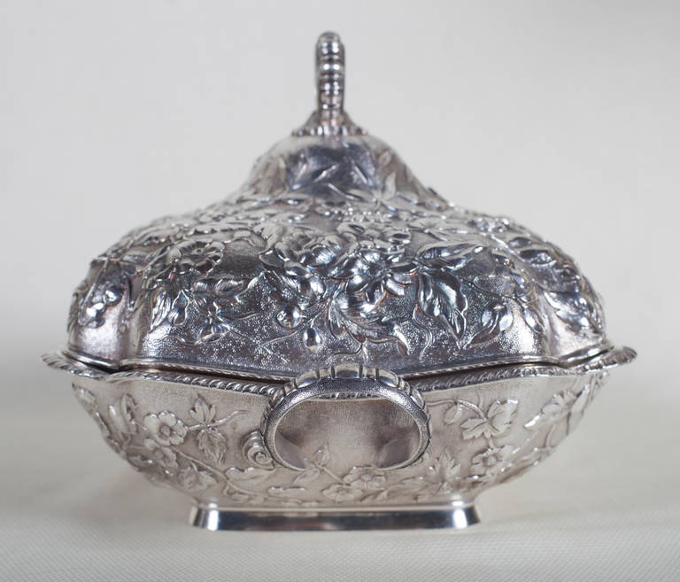 Late Victorian  Sterling Silver Repoussé Covered Serving Dish by Theodore B. Starr, New York For Sale
