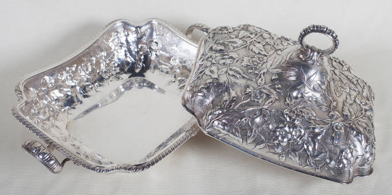 19th Century  Sterling Silver Repoussé Covered Serving Dish by Theodore B. Starr, New York For Sale