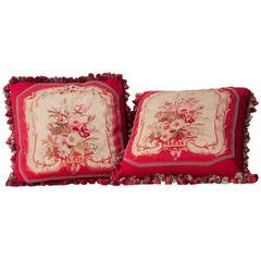 Pair of Napoeon III Aubusson Tapestry Cushions