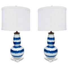 Pair of Blue and White Striped Lamps