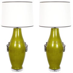 Pair of Chartreuse Ceramic