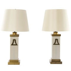 Pair of Brass Detail Column Lamps