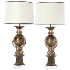 Pair of Four-Handle Sphere Lamps