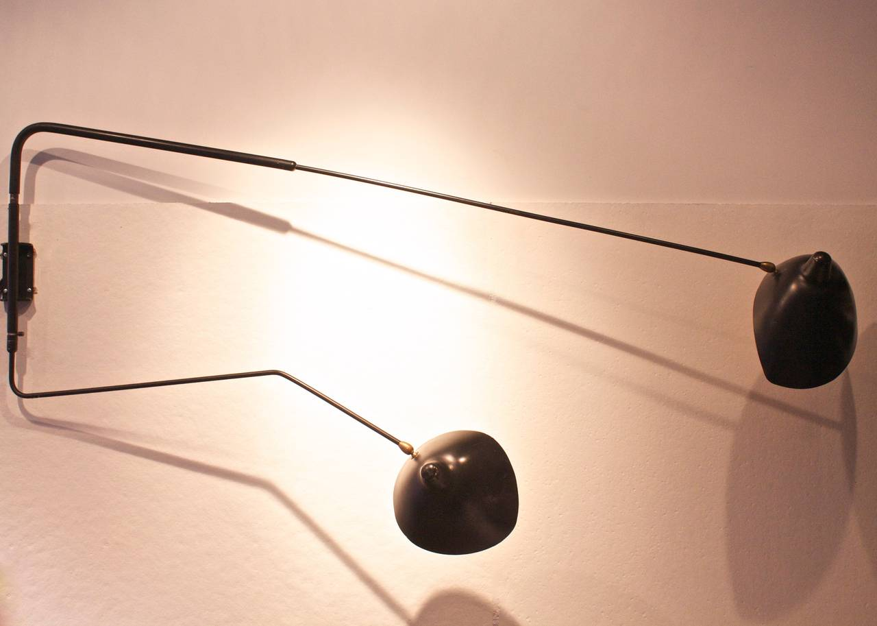 two arm rotating sconce by serge mouille at 1stdibs. Black Bedroom Furniture Sets. Home Design Ideas