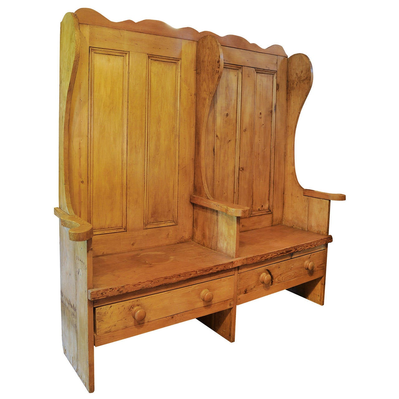 Pine Settle Bench At 1stdibs
