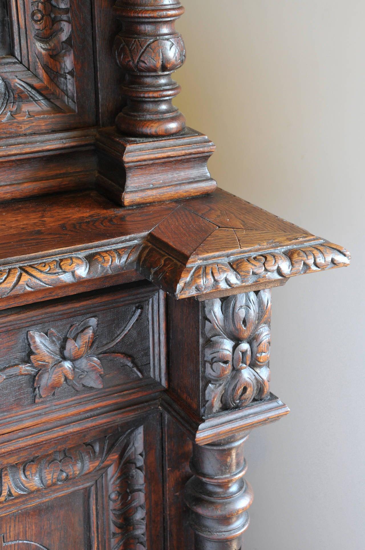 Carved oak hunt board bookcase for sale at stdibs