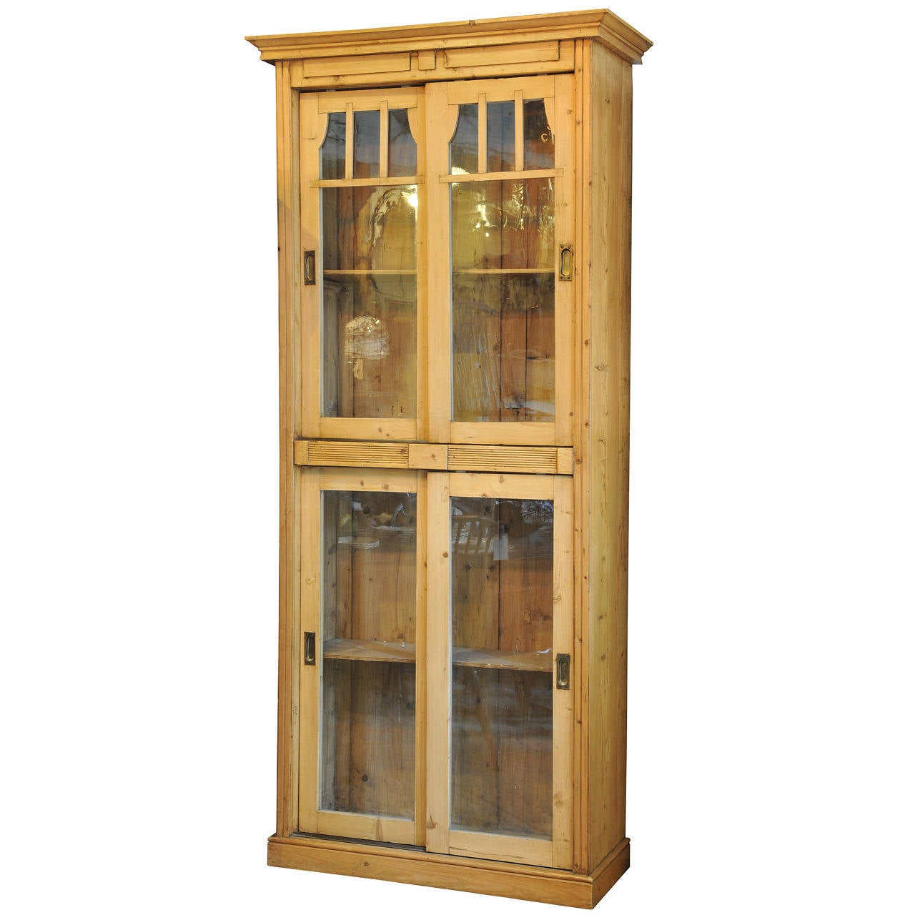 Tall Antique Pine Pantry Cupboard 1