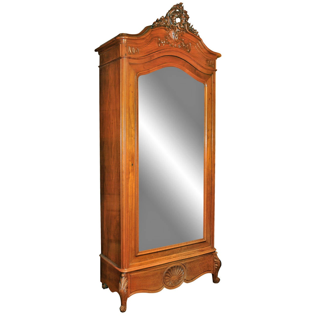antique french armoire with a large beveled mirror door. Black Bedroom Furniture Sets. Home Design Ideas