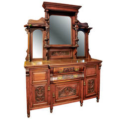 Antique French Armoire With A Large Beveled Mirror Door
