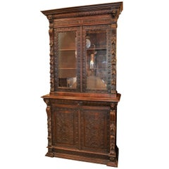 Carved Oak Bookcase