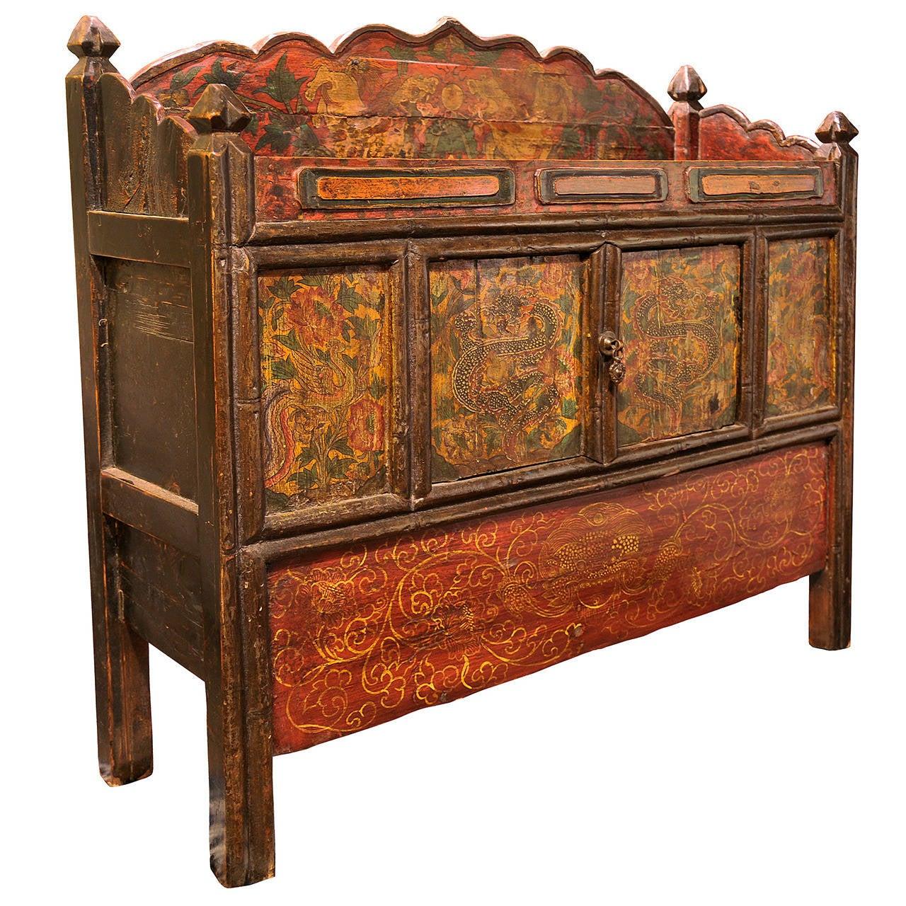 Tibetan Two-Door, Hand-Painted Cabinet