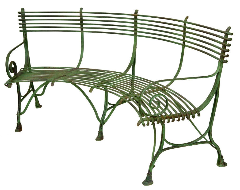 Curved French Garden Bench at 1stdibs