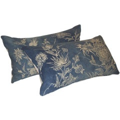 Pair 19th Century Indigo Floral Pillows