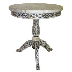Mid-Century Mother-of-Pearl Inlay Pedestal Table