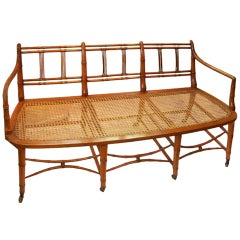 19th Century English Bamboo Settee