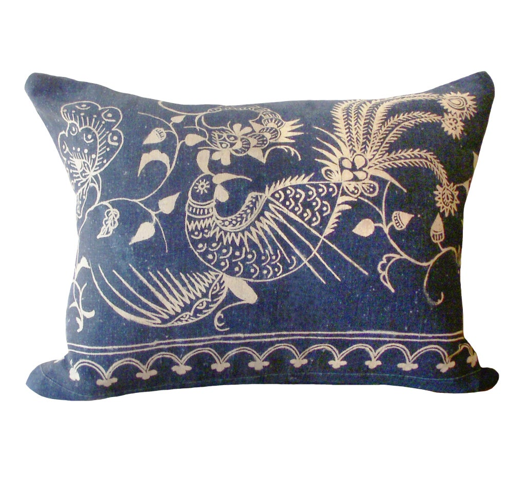 Pair of Rare Indigo Bird Pillows image 2