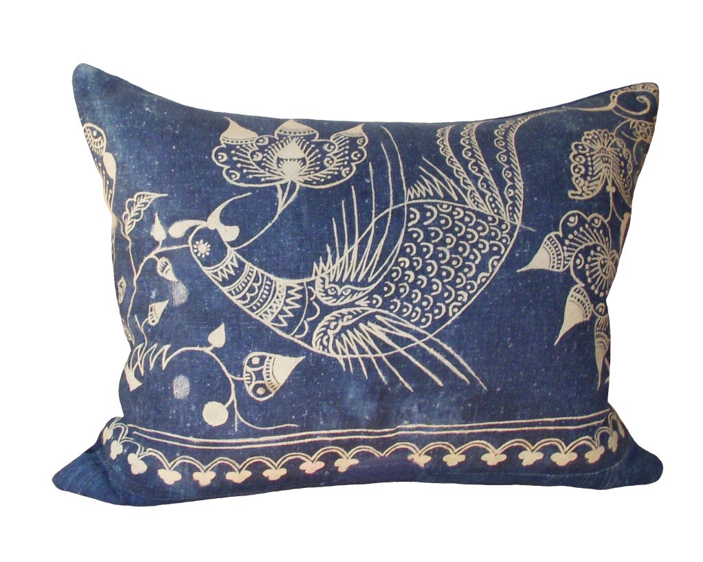 Pair of Rare Indigo Bird Pillows image 3