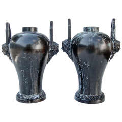 Pair of French Art Nouveau Bronze Urns