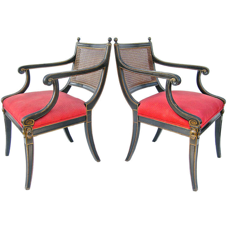 Pair Of High Regency Style Armchairs At 1stdibs