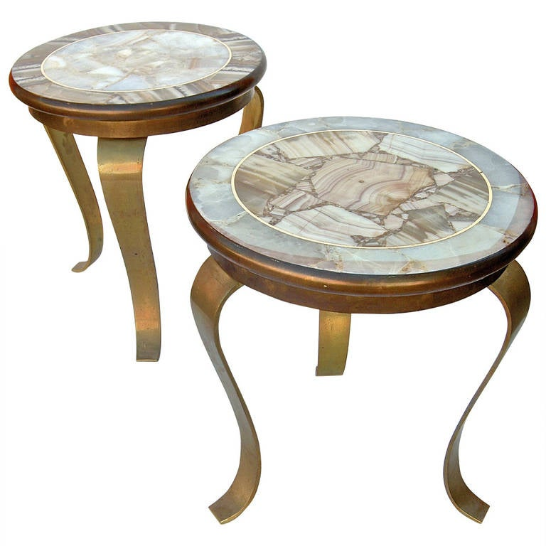 Nail Marble Top Coffee Table: Pair Of Onyx And Bronze Side Tables Attributed To Pani At