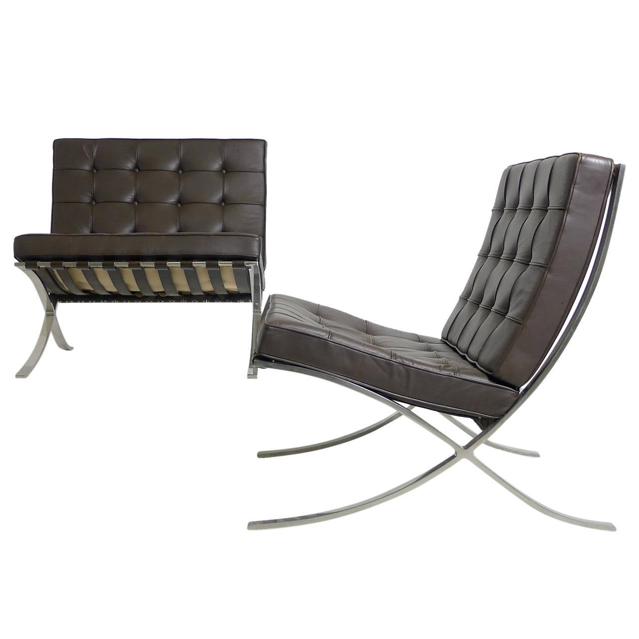 mies van der rohe pair of barcelona chairs at 1stdibs. Black Bedroom Furniture Sets. Home Design Ideas