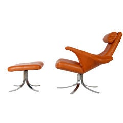 Rare Seagull Chair And Ottoman W/label