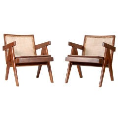 Pierre Jeanneret ; Pair Of Low Easy  Chairs