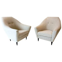 Pair of Stylish Italian Armchairs with Polished Wooden Legs