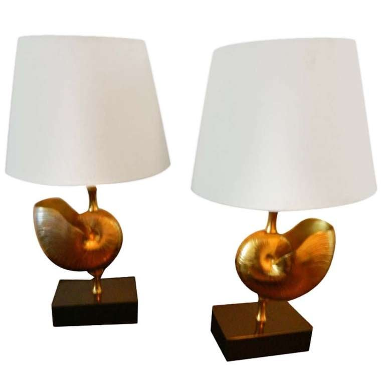 Pair Of Bronze Nautilus Shell Lamps For Sale At 1stdibs