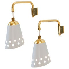 Pair of  lacquered metal wall sconces by Osvaldo Borsani