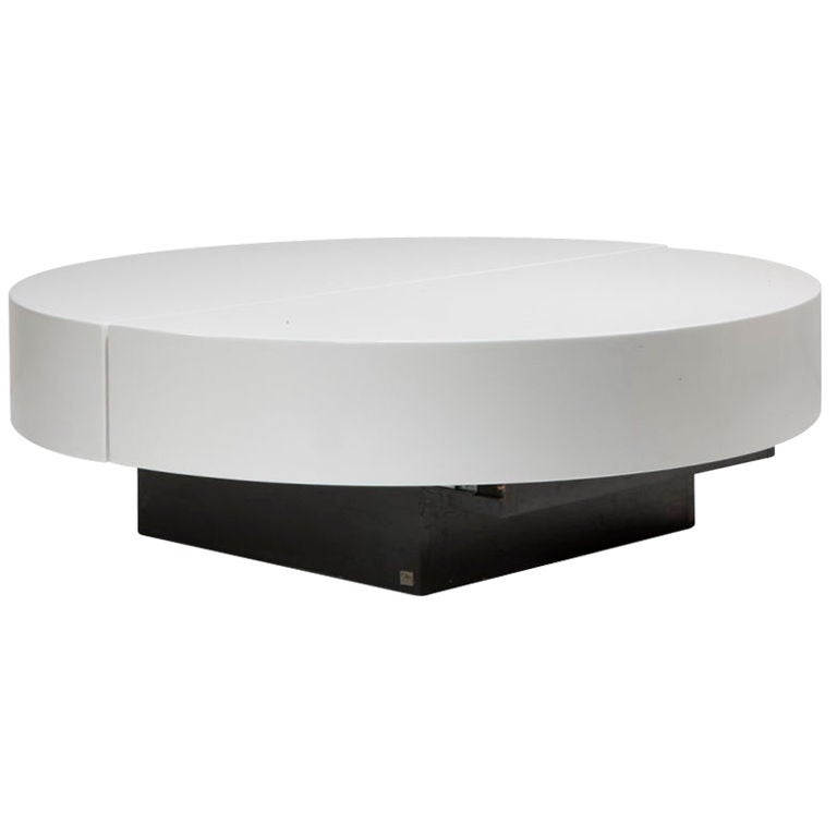 off white lacquered coffee table and bar by jean claude mahey at 1stdibs