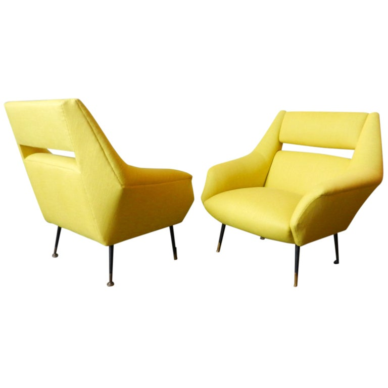 Pair of Italian Armchairs with Black Lacquered Legs