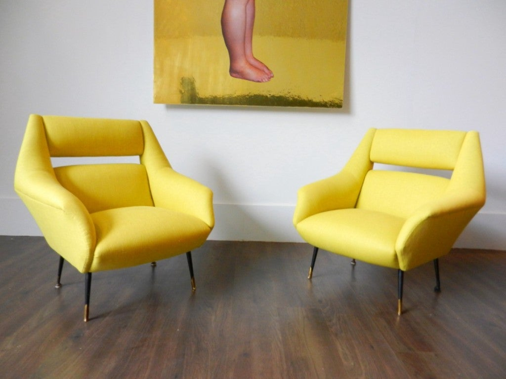 Pair of Italian Armchairs with Black Lacquered Legs image 2