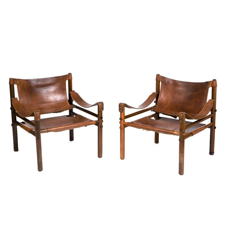 Pair of Leather Safari Chairs at 1stdibs